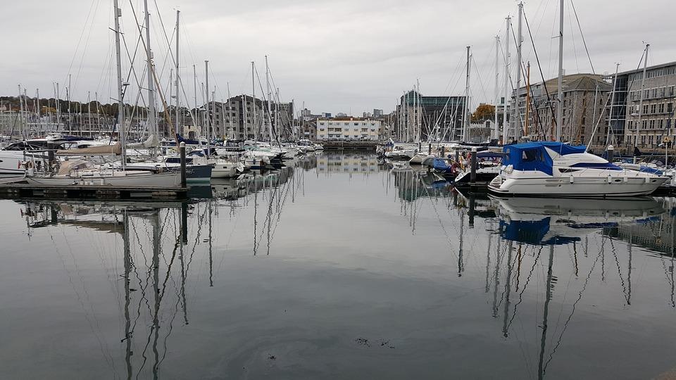 Reflection, Boats, Yachts, Marina, Plymouth, Water