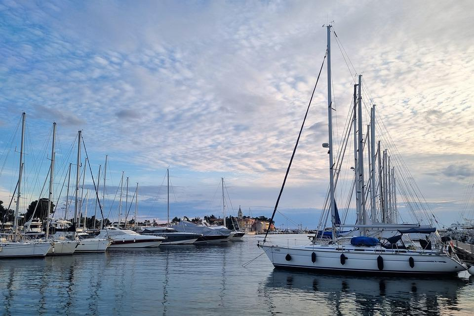 Yachts, Boats, Marina, Port, Sunset, Sky, Clouds