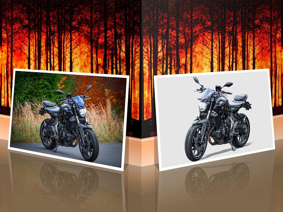 Motorcycle, Motorbike, Yamaha, Yamaha Mt-07, Reflection
