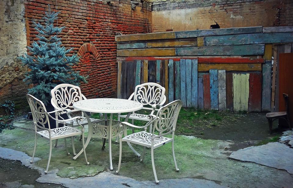 Tbilisi, Yard, Corner, Table, Chairs, Comfort