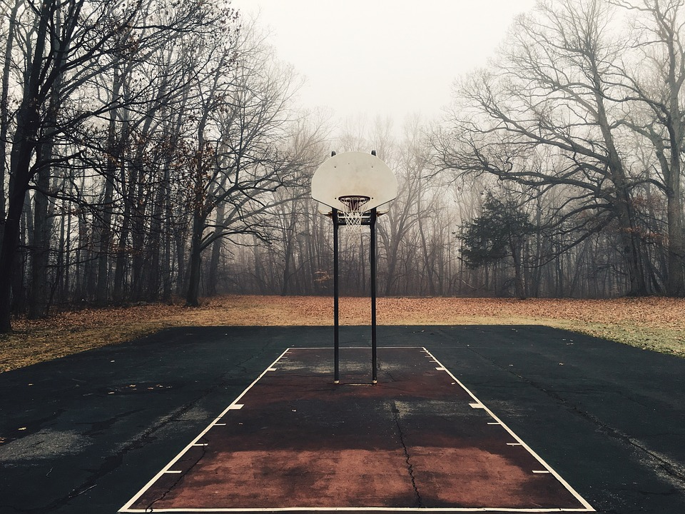 Basketball, Court, Net, Hoops, Yard, Outdoors, Trees