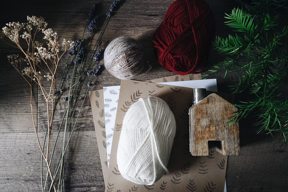 Art, Flowers, Papers, Table, Wood, Wooden, Yarn