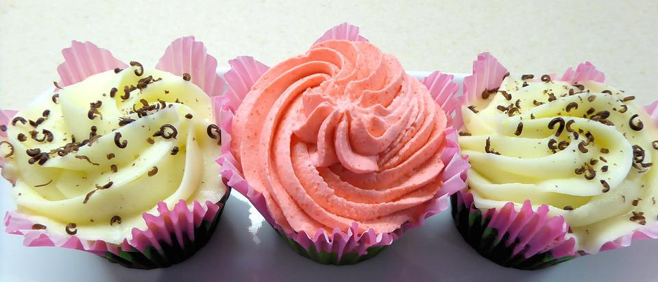Cupcakes, Yellow And Peach Frosting, Chocolate Pieces