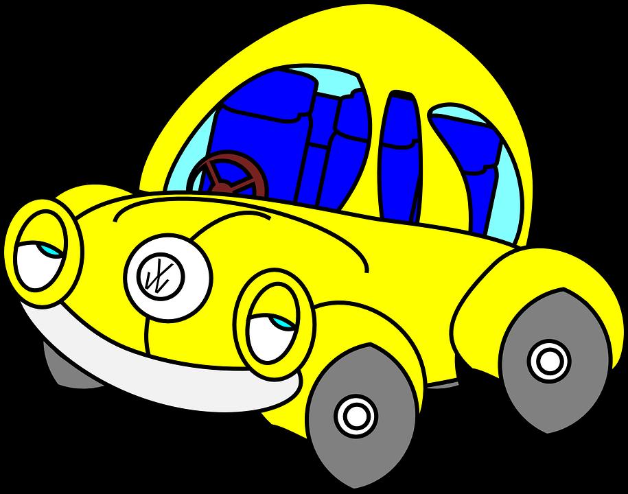 Beetle, Car, Sleepy, Funny, Yellow, Automobile