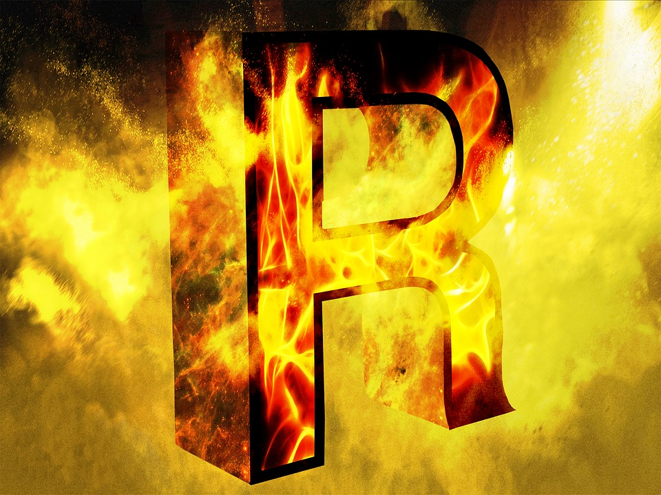 Letter, R, Fire, Yellow Background