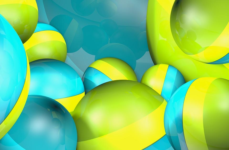 Wallpaper, Balls, Bead, Yellow, Green Blue, 3d