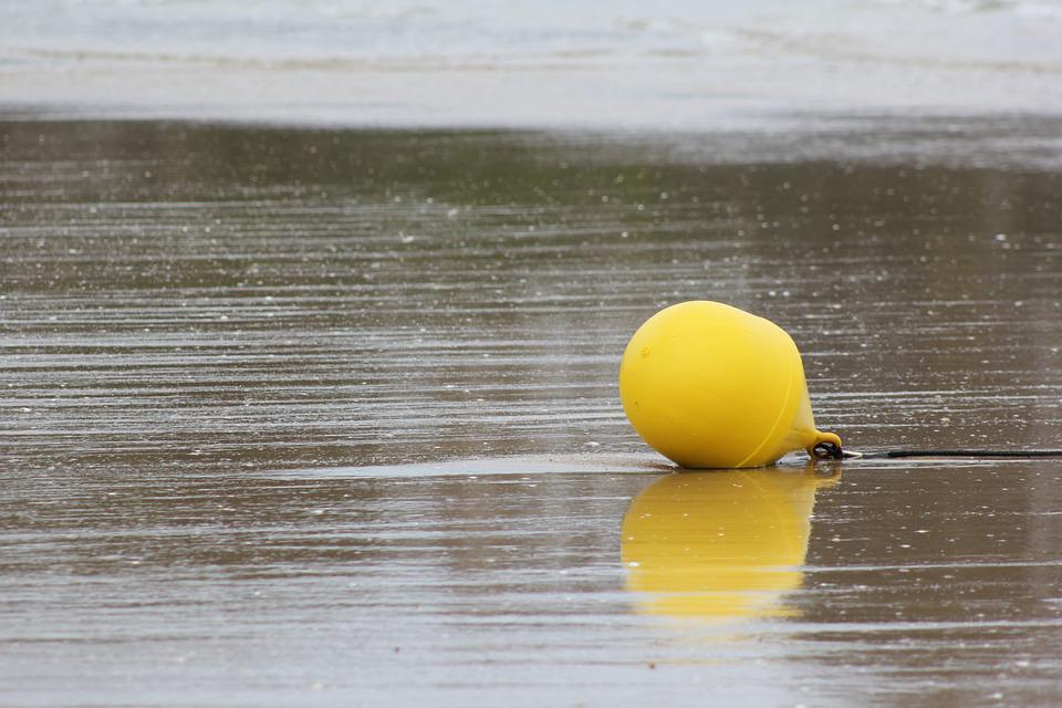Buoy, Sand, Sea, Beach, Yellow
