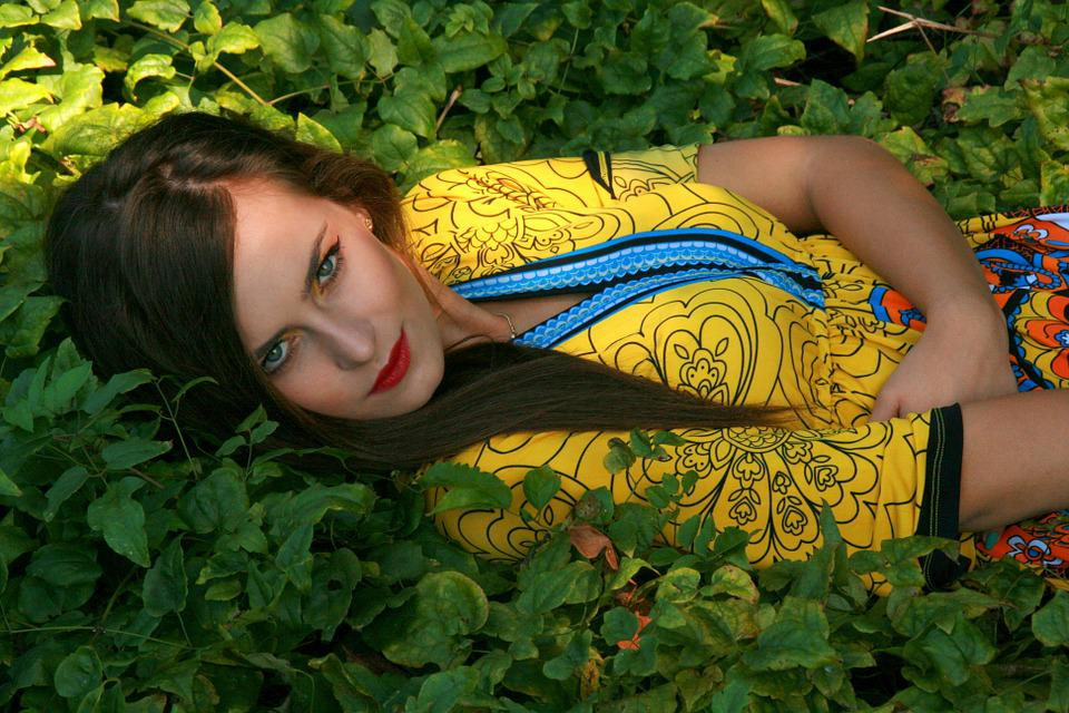 Girl, Portrait, Vegetation, Beauty, Seductive, Yellow