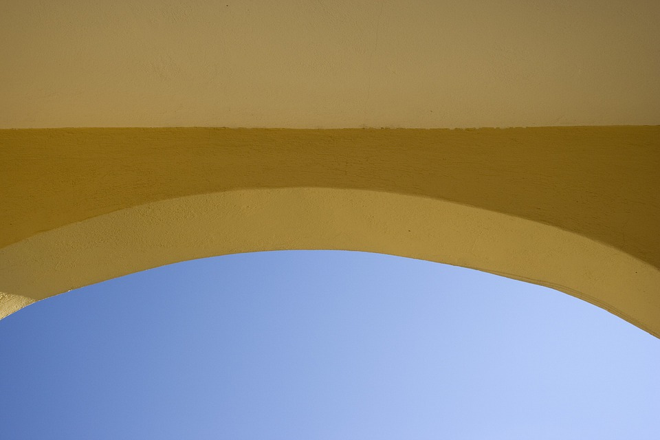 Arch, Yellow, Building, Wall, Sky, Blue, Entrance, Door