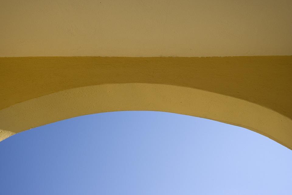 Arch, Yellow, Building, Wall, Sky, Blue, Entrance, Door