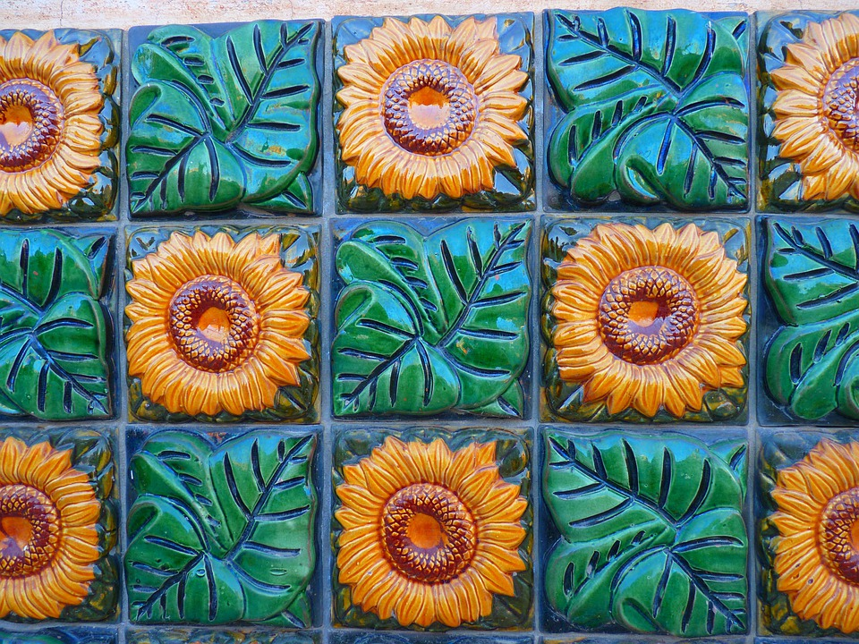 Sunflower, Tile, Tiles, Ceramic, Green, Yellow