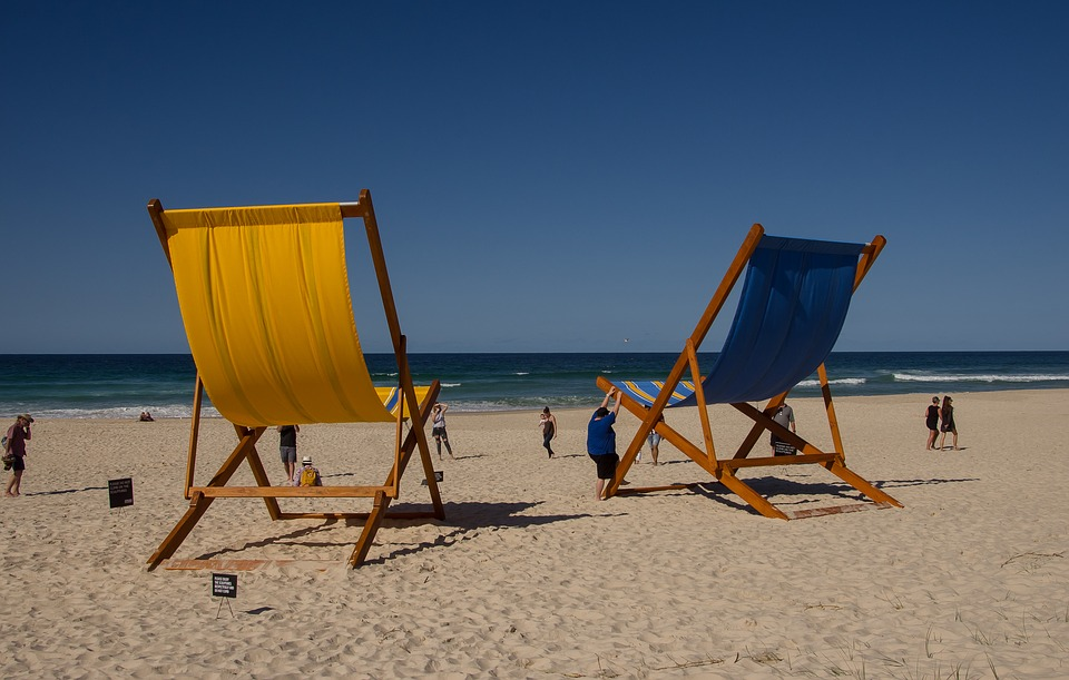 Chairs, Deckchairs, Giant, Sculpture, Pattern, Yellow