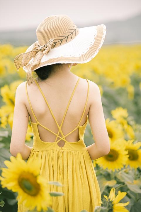 Rear, Girl, Back, Girl's Back, Yellow Dress, Sun Hat