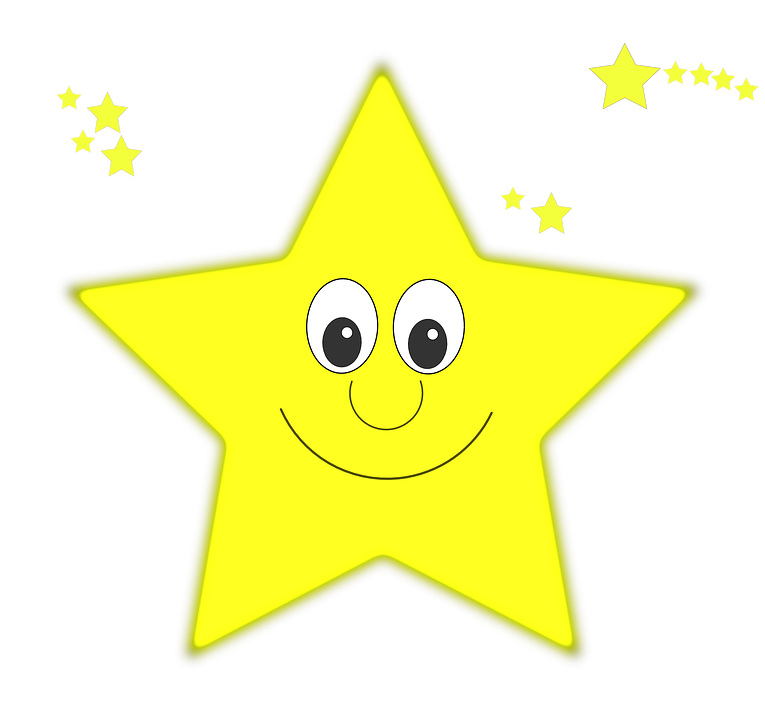 Star, Yellow, Face, Smile, Happy