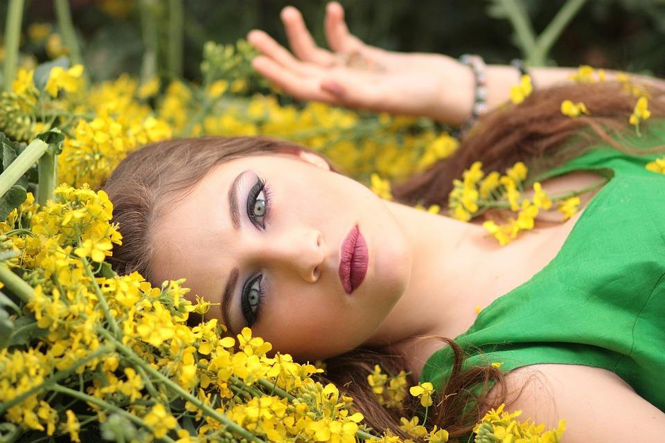 Girl, Flowers, Yellow, Beauty, Nature, Woman, Lying