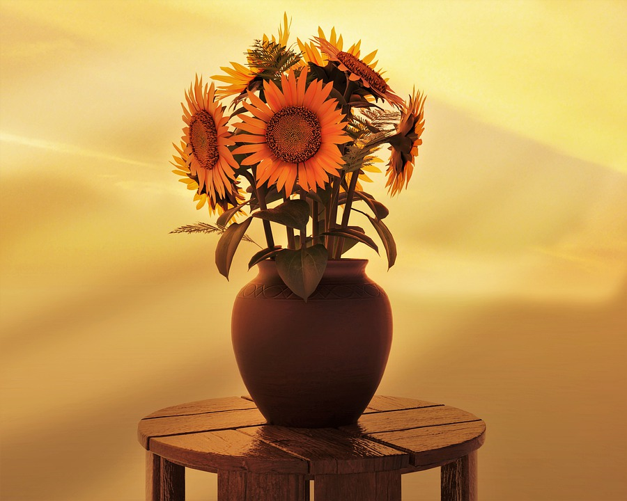 Sunflowers, Vase, Table, Bouquet, Yellow Flowers