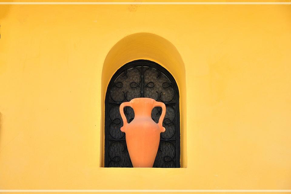 Window, Vase, Yellow, France, Provence, Glass