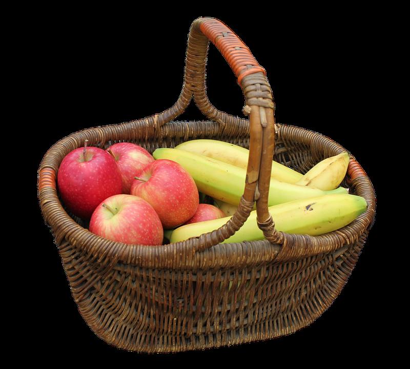 Basket, Hand Basket, Fruit, Bananas, Yellow, Fruits
