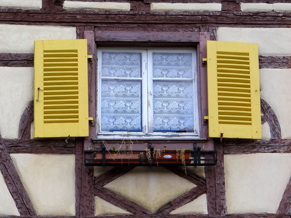 Window, Shutters, Yellow, Brown, Old Town, Historically