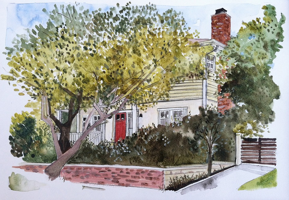 House, Yellow, Trees, Architecture, Residential