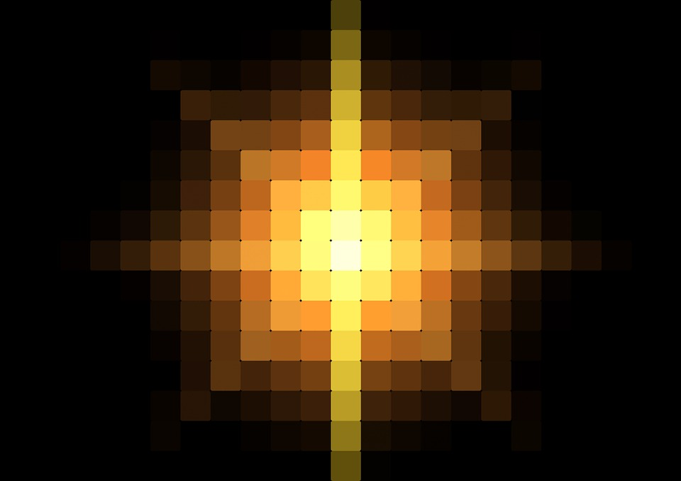 Center, Pixel, Light, Background, Points, Yellow