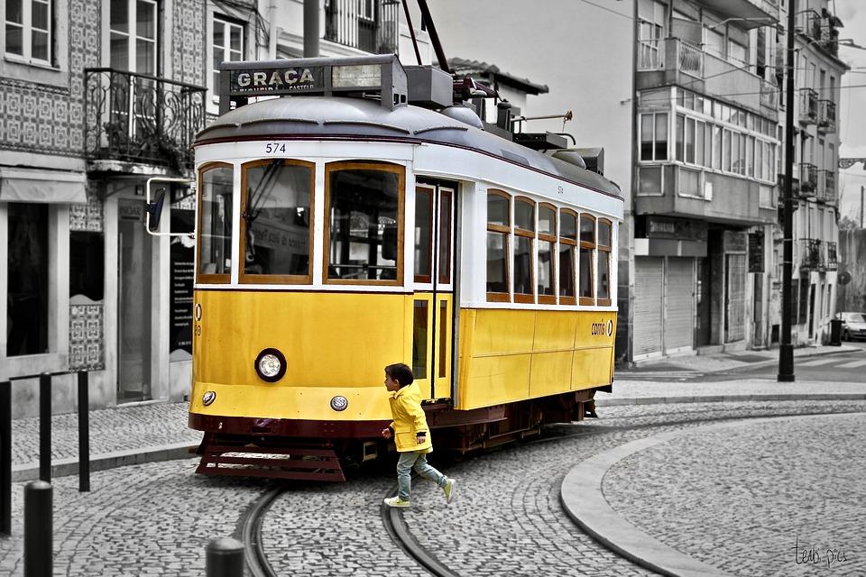 Lisbon, Yellow, Child, Tram, Selective Colour