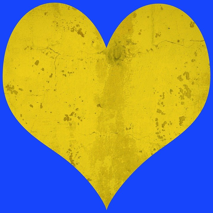 Heart, Yellow, Blue, Pattern, Love