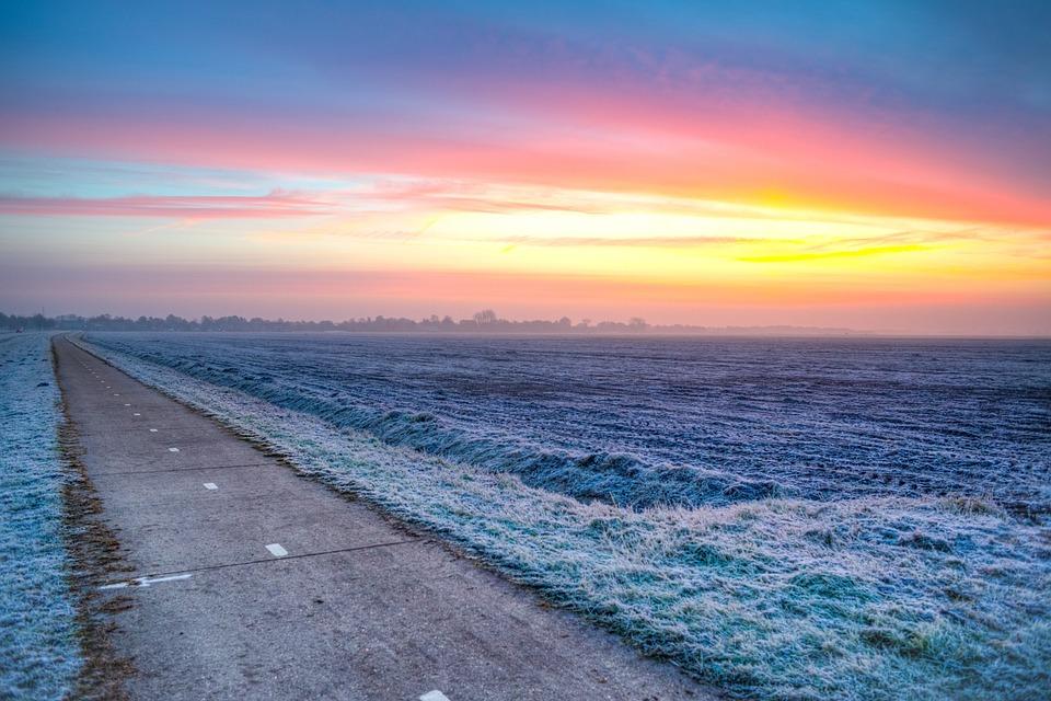 Bike, Path, Cold, Sunrise, Yellow, Orange, Blue, Freeze
