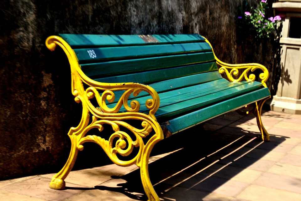 Park, Bench, Painted, Yellow, Turquoise, India