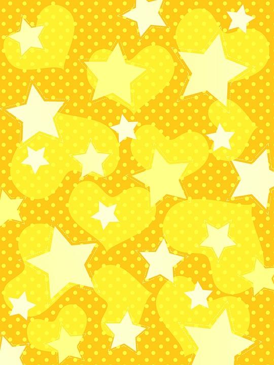 Background, Star, Heart, Pattern, Yellow