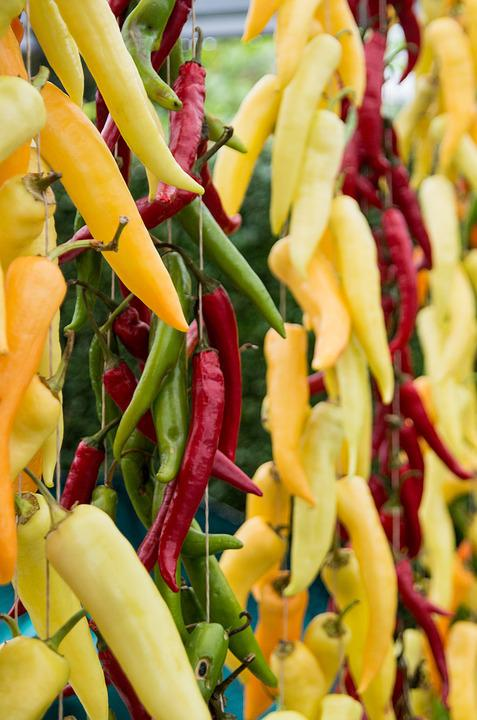 Chili, Pepper, Green, Yellow, Cooking, Spicy, Red, Food