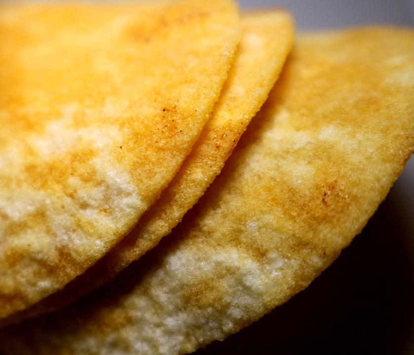 Chips, Stack Of Chips, Yellow, Potato Chips, Food