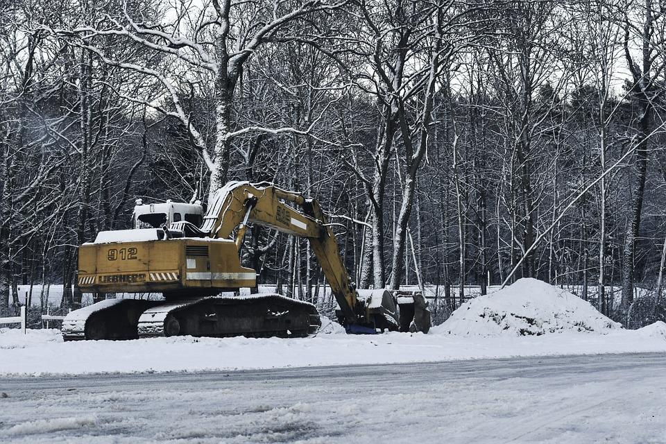 Winter, Yellow, Roadworks, Break Time, Machinery