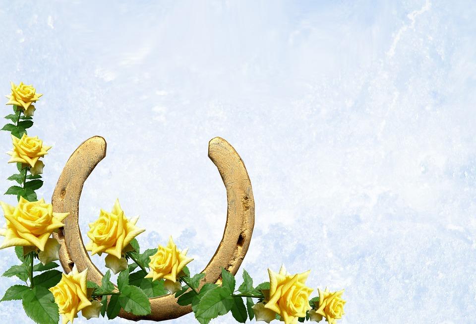 Greeting Card, Horseshoe, Yellow Roses, Luck