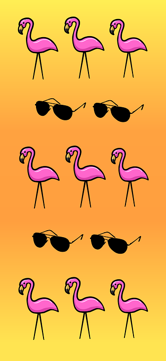 Summer, Flamingo, Sunglasses, Yellow
