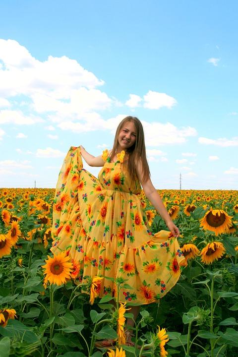 Sunflower, Girl, Dress, Yellow