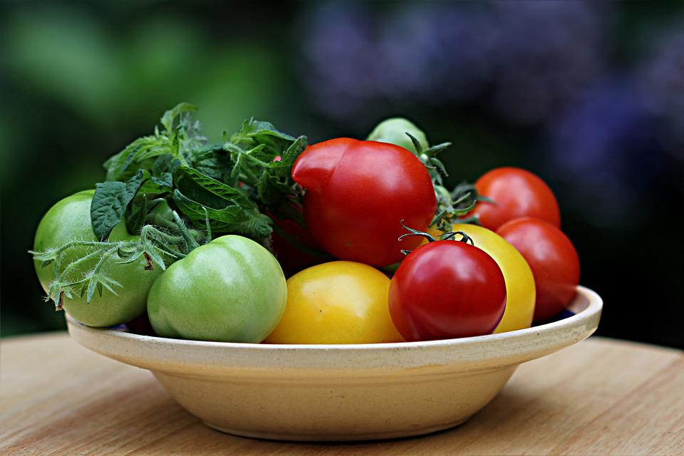 Still Life, Vegetables, Tomatoes, Green, Yellow, Red