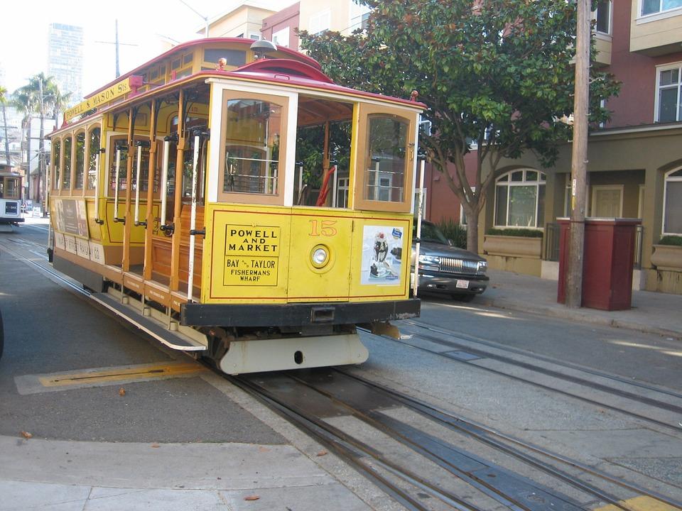 Tram, San Francisco, City, Yellow, Road, Tracks