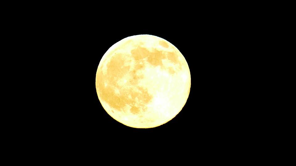 Moon, Full Moon, Yellow, Universe