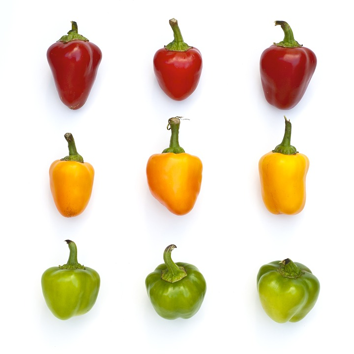 Peppers, Vegetable, Red, Yellow, Green, Fresh