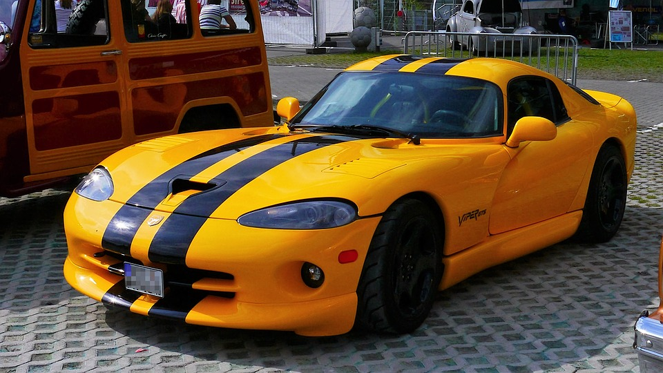 Auto, Sports Car, Viper Gts, Yellow, Usa, America