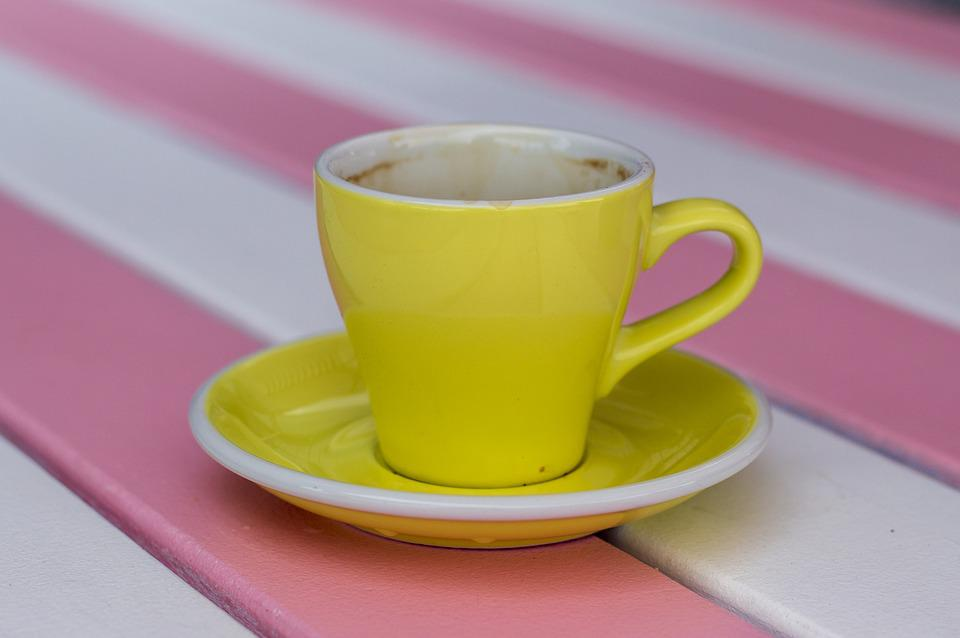 Coffee, Cup, Yellow, Table, Saucer, Pink, White