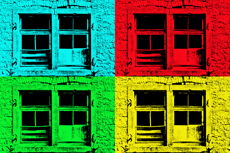 Window, Blue, Red, Green, Yellow, Popart