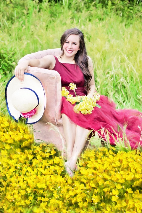 Pretty Woman, Flowers, Yellow, Field, Female, Woman