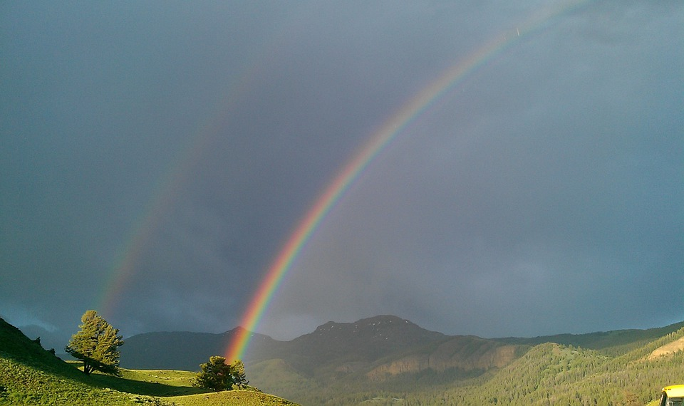 Rainbow, Double Rainbow, Yellowstone, Thunderstorm
