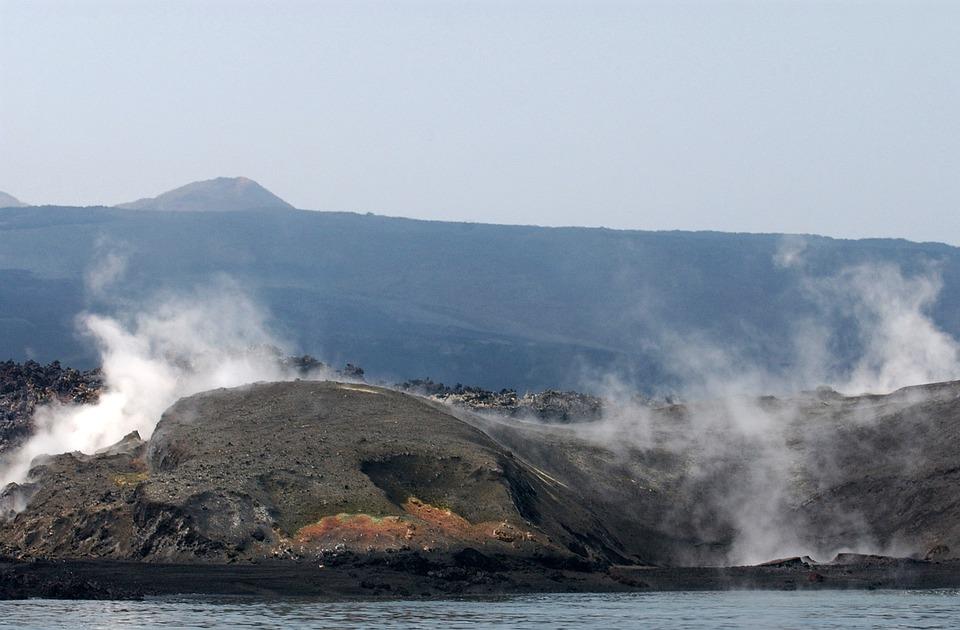 Yemini, Coast, Coastline, Steam, Volcanic Eruption