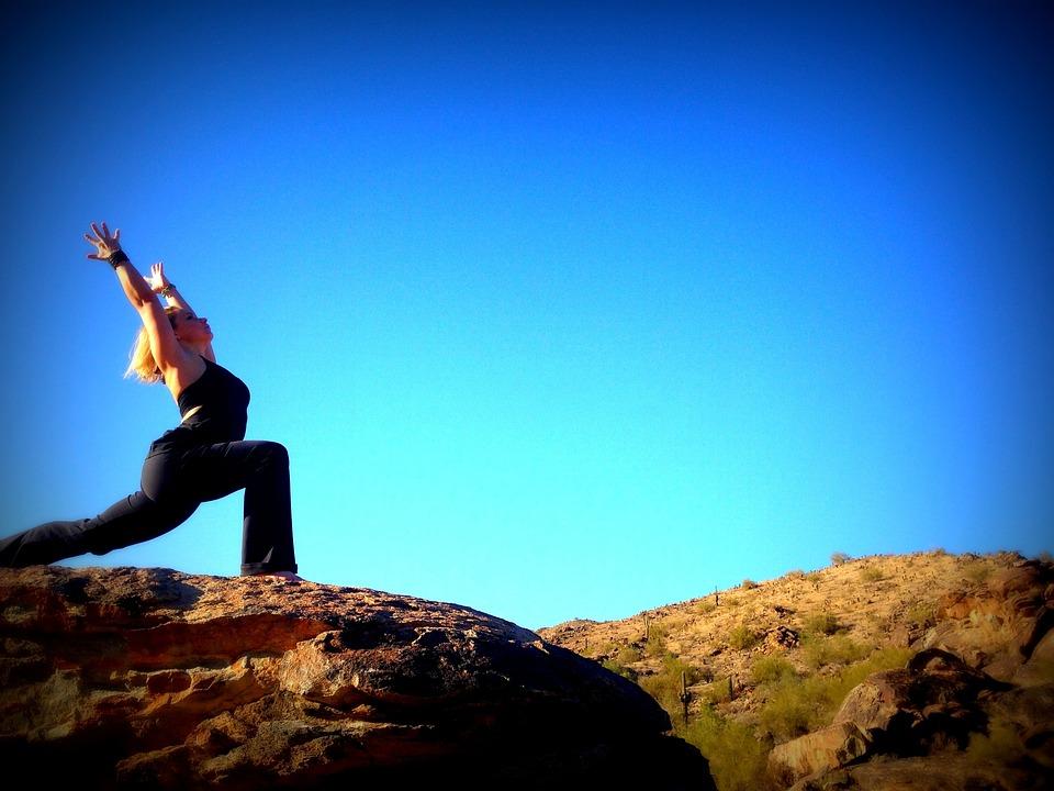 Yoga, Blue Sky, Pose, Fitness, Girl, Warrior Pose