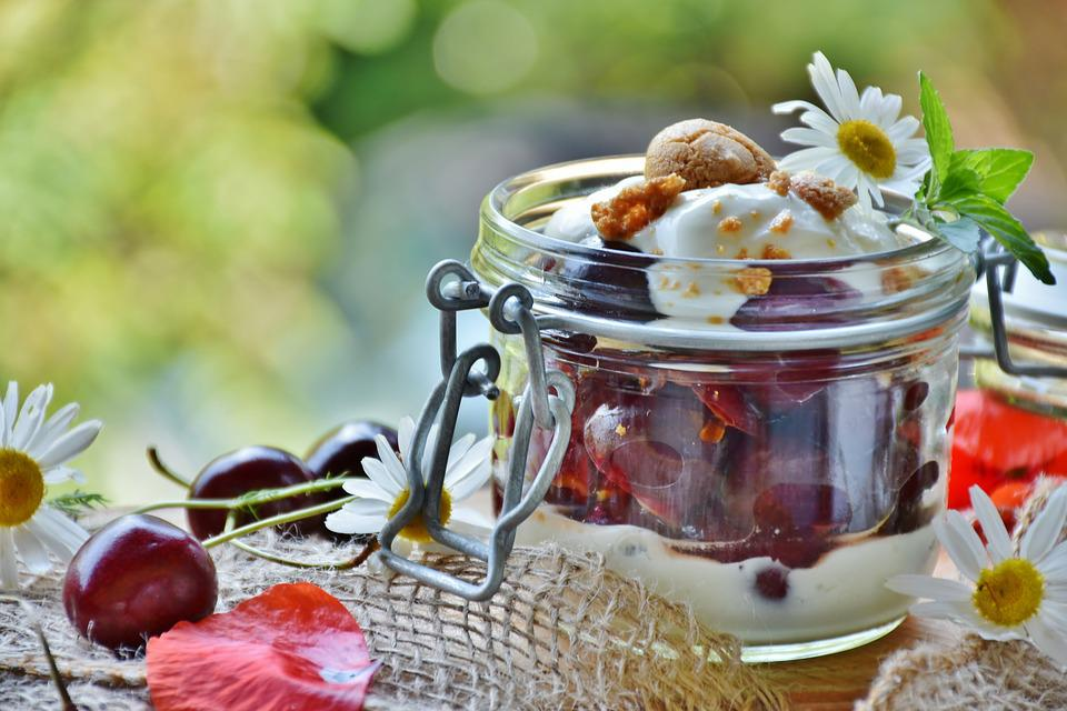 Cherries, Cherry Dessert, Cream, Yogurt, Dessert