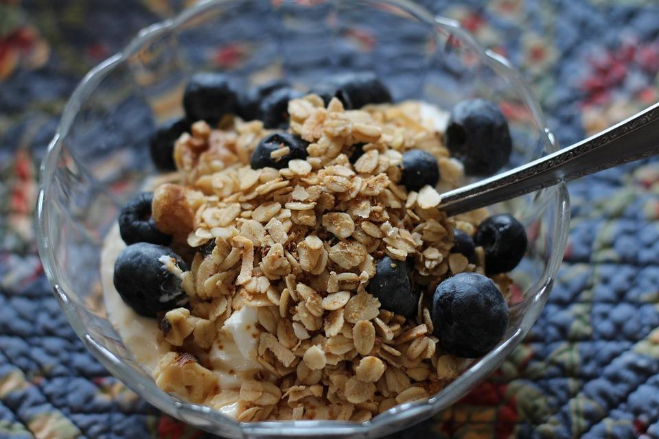 Breakfast, Yogurt, Healthy, Blueberries, Granola, Food