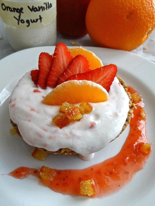 Yogurt, Strawberries, Orange, Healthy, Nutrition